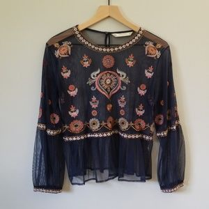 ZARA Sheer Tulle Embroidered Long Sleeve Top L